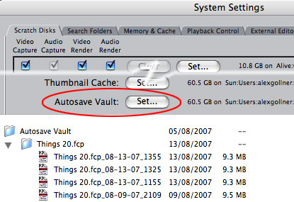 You can choose where to send your autosaved Final Cut Pro projects